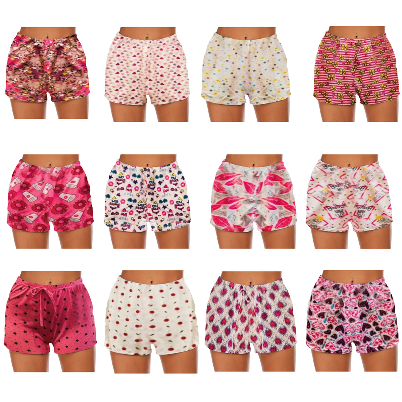 3-Pack Women's Soft Pajama Shorts with Drawstring