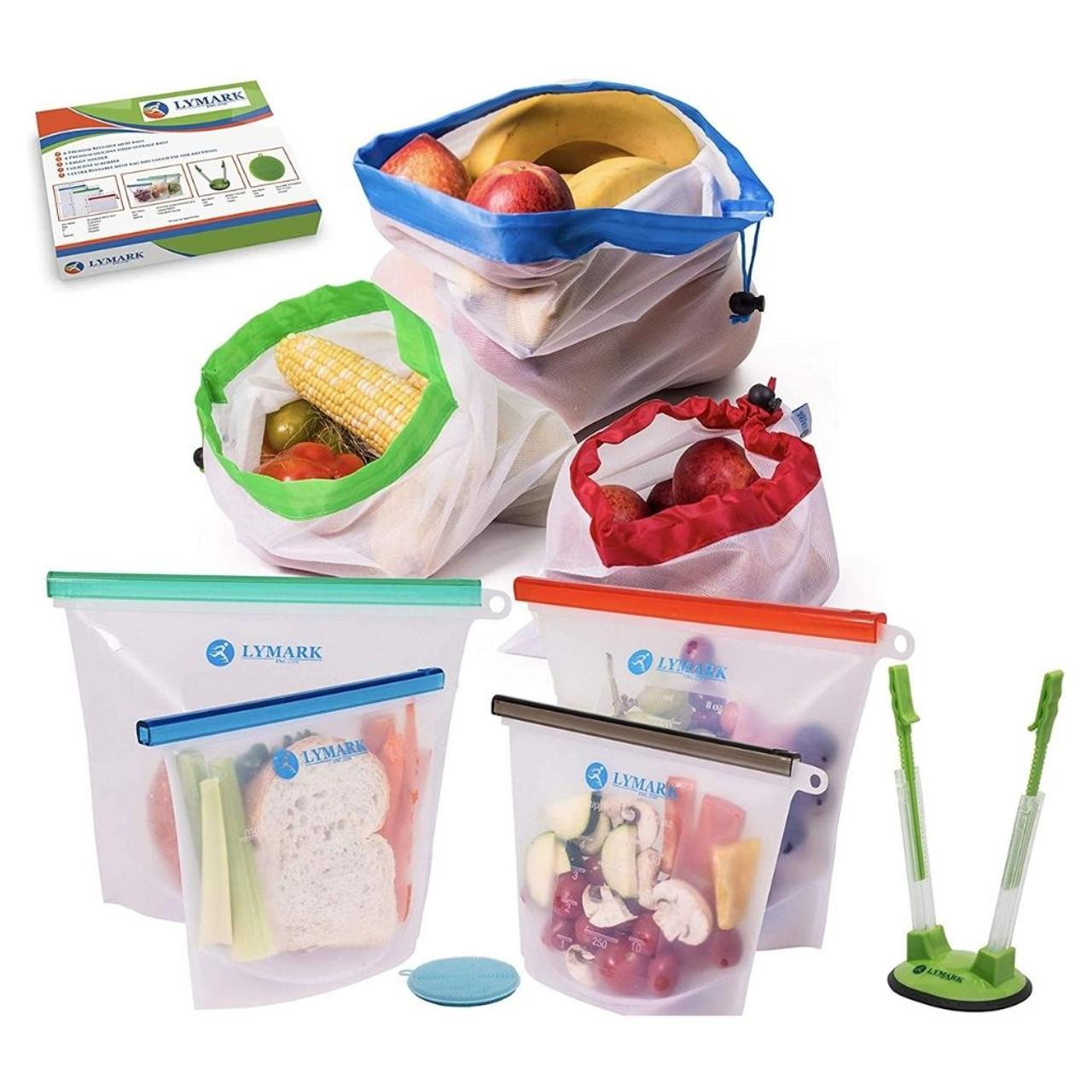 Reusable Leak Proof Silicone Food Storage and Mesh Produce Bag Set! .99 (REG .99) at Until Gone!