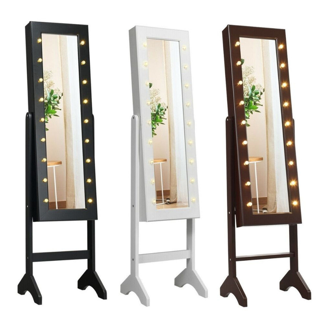 Mirrored 18 LED Lighted Standing Jewelry Cabinet