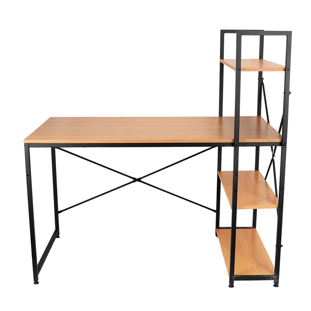 Wooden Computer Desk with Bookshelf