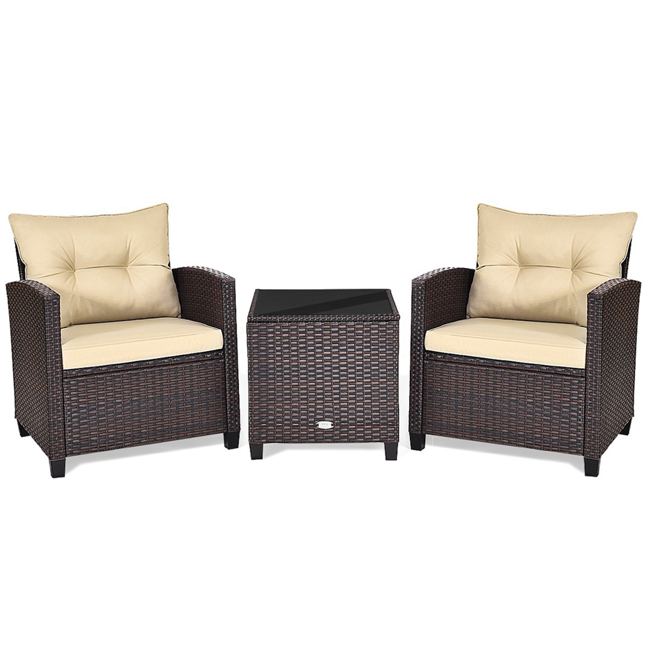 3-Piece Rattan Patio Furniture Set with Large Cushions! 9.99 (REG 9.99) + Free Shipping at Until Gone!