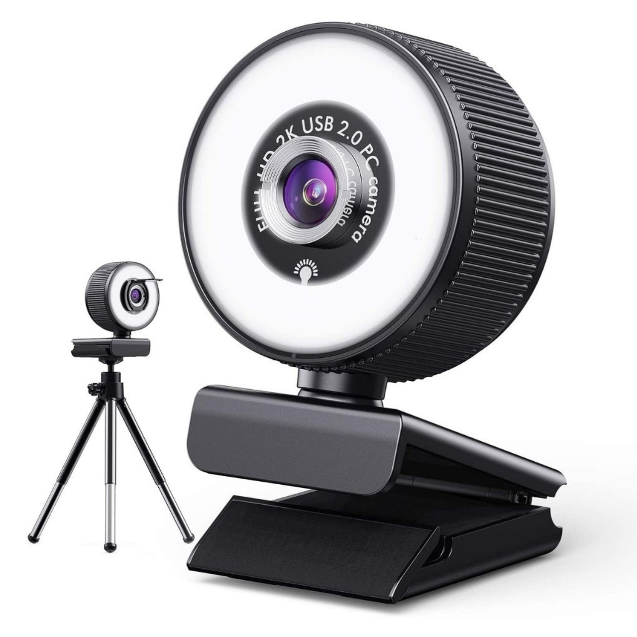 2K HD Ring Light Webcam with Built-in Microphone + Tripod $18.99 (37% OFF)