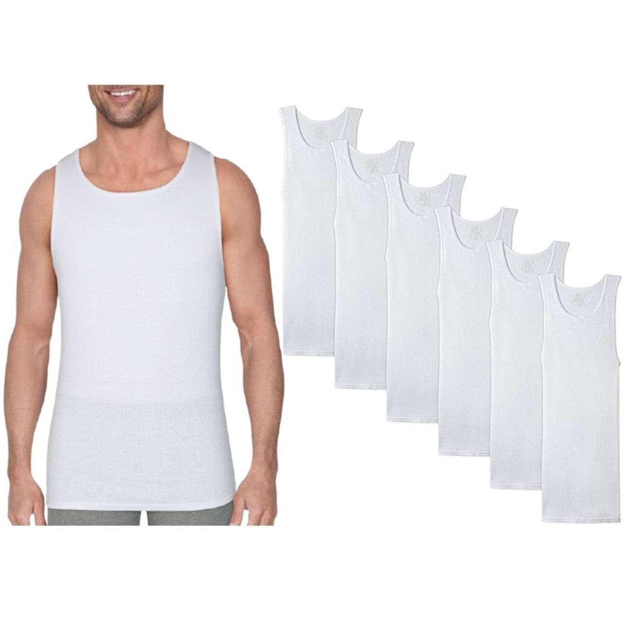 Men's Cotton Ribbed Tank Top (6-Pack) $18.99 (73% OFF)
