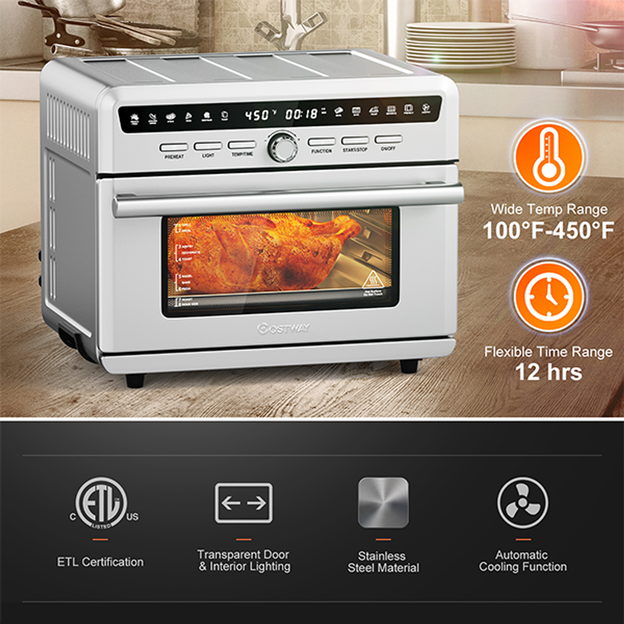 26.4-Quart 10-in-1 Silver Air Fryer Toaster Oven $154.99 (48% OFF)