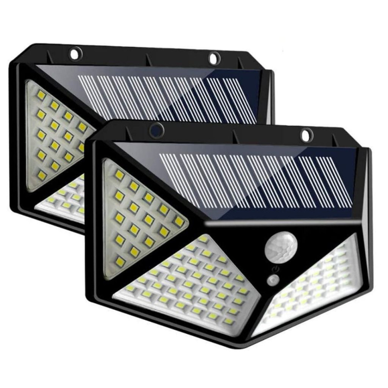 2-Pack Solar Powered 100-LED Motion Activated Outdoor Light