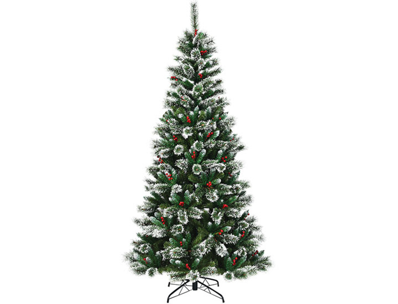 5- to 8-Foot Snow Flocked Artificial Christmas Tree with Red Berries! .99 (REG 9.99) + Free Shipping at Until Gone!