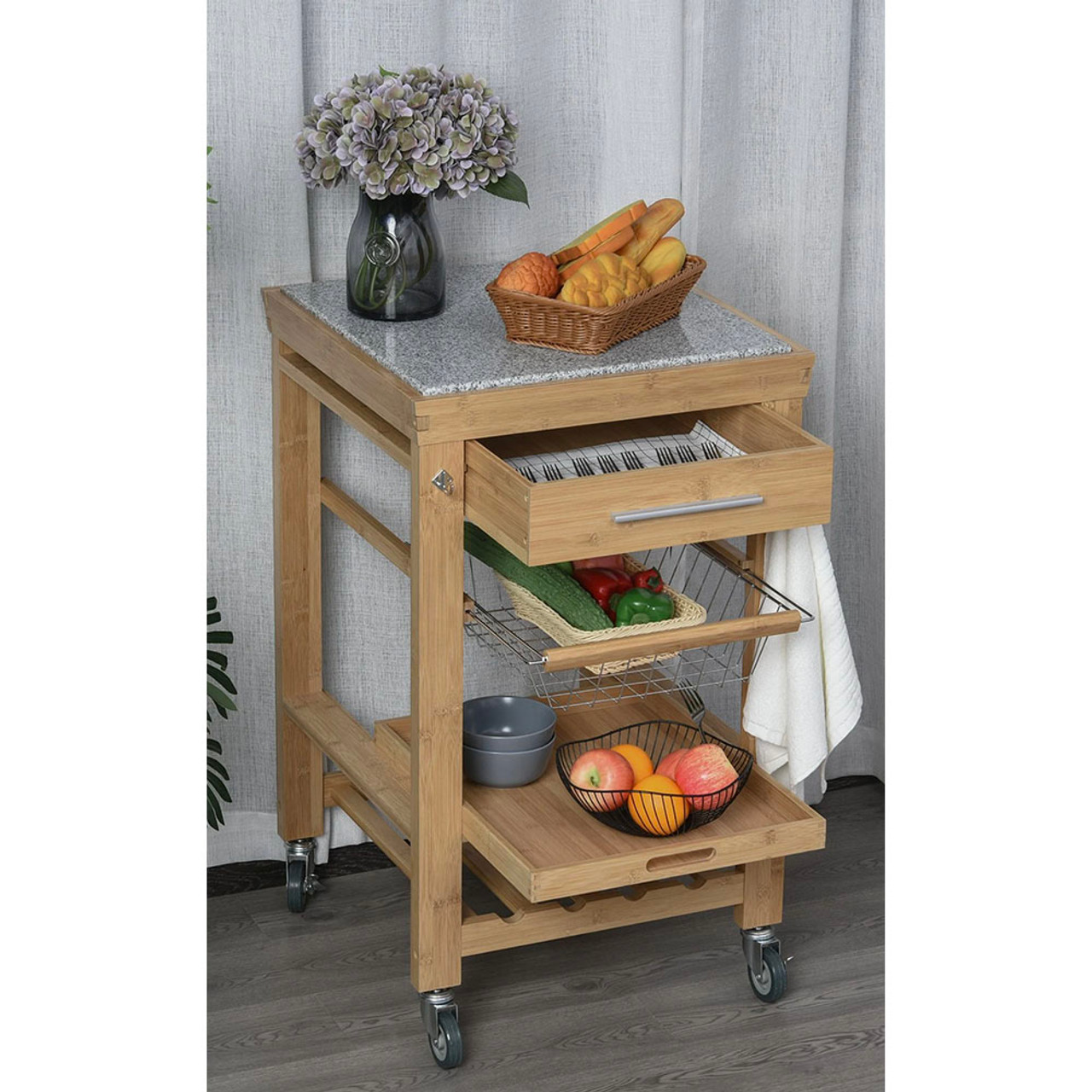 Bamboo Rolling Kitchen Island Storage Cart with Granite Top! 7.99 (REG 4.99) + Free Shipping at Until Gone!