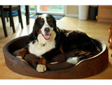 Furhaven Snuggle Terry and Suede Oval Bolster Pet Bed product image