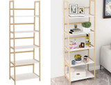 Solid Bamboo Ladder-Style 5 Tier Wooden Book Shelf product image