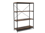 Metal and  Wood 4-Shelf Industrial Style Bookcase product image