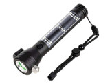 Rechargeable Solar Powered LED Flashlight with Safety Hammer product image