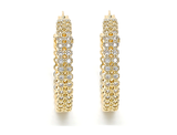 Micro Pava Setting Gold Nugget Hoop Earrings product image