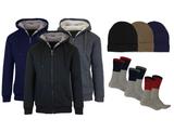 Men's Sherpa Hoodie, Fleece-Lined Beanie Hat & Thermal Socks Gift Set product image