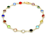 Gold Plated Dark Multi-Colored Crystal Anklet product image