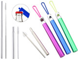 Stainless Steel Collapsible Straw with Bottle Opener & Brush (3-Pack) product image