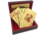 Luxury 24k Gold Foil Playing Cards with Wooden Box product image