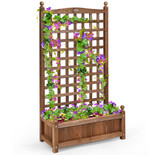 Solid Wood Planter Box with Trellis product image