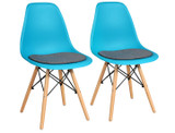 Mid-Century Modern Blue Linen Cushioned Dining Chairs product image