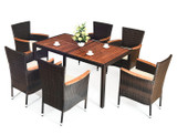 Rattan 7-Piece Patio Dining Set with Cushions product image