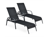 Black Patio Reclining Lounge Chairs (Set of 2) product image