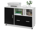 White and Black Rolling Lateral File Cabinet product image