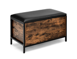 Black Vinyl Padded Wooden Storage Bench product image