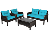 Rattan 4-Piece Loveseat/Chair/Table Furniture Set product image