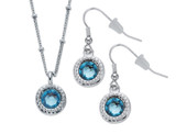 Blue Crystal Silvertone Halo-Style Drop Earring and Pendant Necklace Set product image