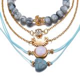 5-Piece Blue Turquoise and Lucky Turtle Chakra Bracelet Set product image
