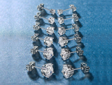 Princess-Cut White Swarovski Graduated Stud Earrings Set (6 Pairs) product image