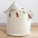 Premium Large White Woven Rope Storage Basket with Handles  product image