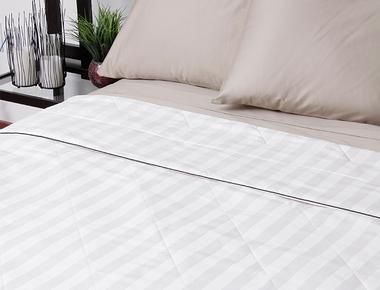 Silk-Filled Damask Stripe Cotton Blanket product image