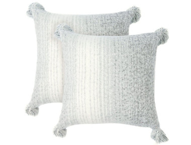 Cheer Collection Gray Ombre Throw Pillows with Tassels (Set of 2) product image