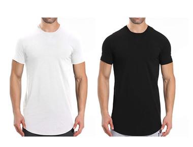Men's Short-Sleeve Longline Crew Neck T-Shirts (2-Pack) product image