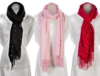 Cashmere-Blend Ultra Soft Pashmina with Pearls product image