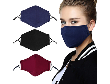 Cotton Reusable Adjustable Face Masks with Filter Pocket (3-Pack) product image