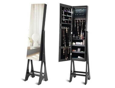 Bevel Edge Mirrored Standing LED Jewelry Cabinet product image