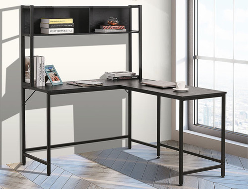 Office L-Shaped Computer Desk with Overhead Bookshelf product image
