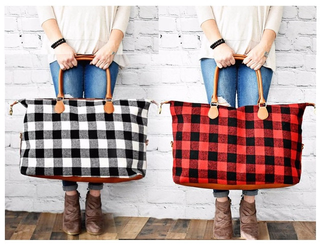 Buffalo Plaid Checkered Tote Weekender Bag