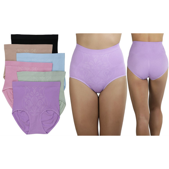 6-Pack Plus Size Compression High Waisted Girdle Brief