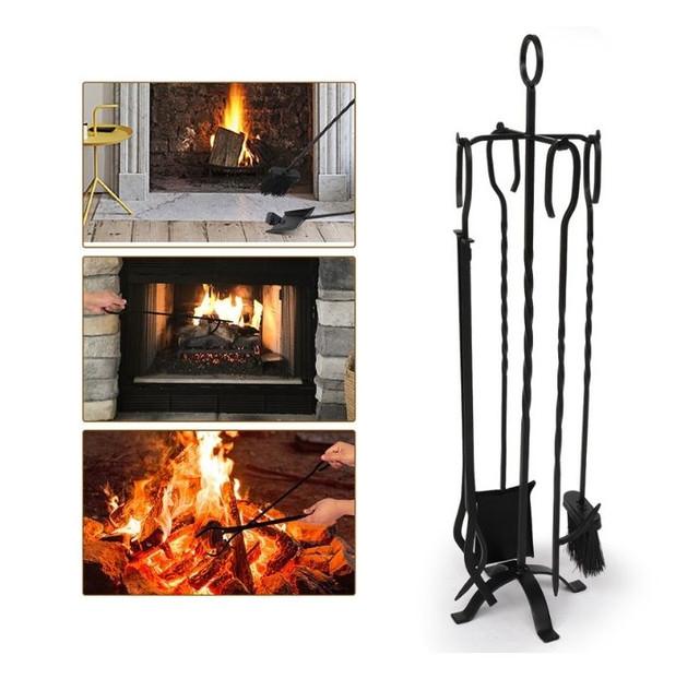 5-Piece Heavy Duty Wrought Iron Fireplace Set