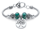 Green Beaded Tree of Life and Owl Silvertone Bali-Style Charm Bracelet product image