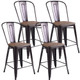 Copper Metal and Wood Counter-Height Bar Stools (Set of 4) product