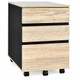Black and Natural Wood 3-Drawer Mobile Cabinet product