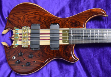 Alembic Mark King Deluxe 5-String, Cocobolo with Ebony and Front/Side Red LED's