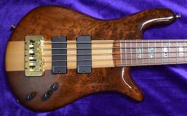 Spector USA NS5 XL, Natural Birdseye Redwood with Pau Ferro Board