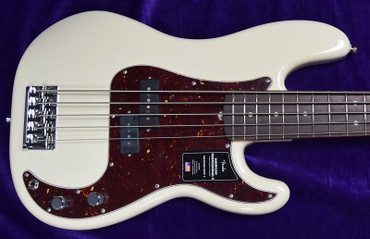 Fender American Professional II Precision Bass (5-String), Olympic White with Rosewood Fingerboard ON ORDER ETA June 2022