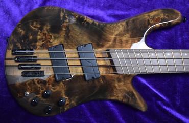 Spector NS Dimension 4-String, Faded Black Gloss Over Poplar Burl / Wenge Fingerboard