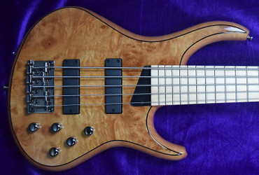 MTD Kingston  Z-5 (5 String), Natural Maple Burl with Maple Fingerboard.