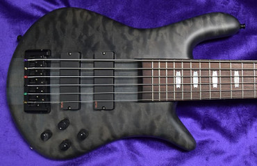 Spector Euro 6LX, Matte Black Stain over Figured Maple Top with Rosewood *On Order, ETA = Sept. 2021